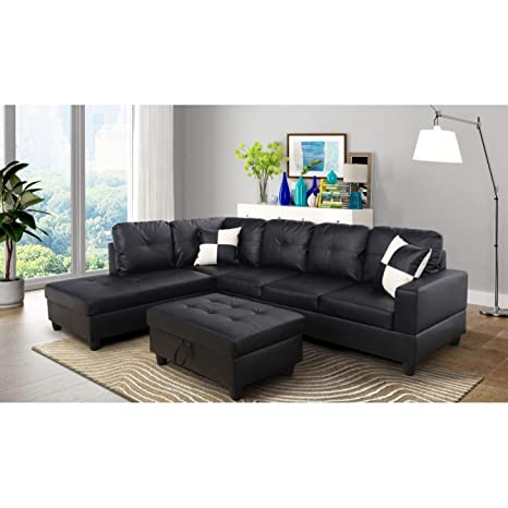 Amazon Com Aycp Furniture Black Faux Leather Left Hand Facing