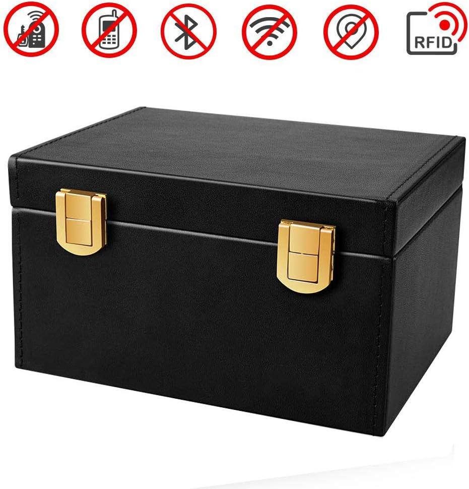 2 Car Key Signal Blocker Box lesgos RFID Anti-Theft Key Storage Box PU Leather Faraday Cage Safe Security for Remote Smart Keys Cards Household