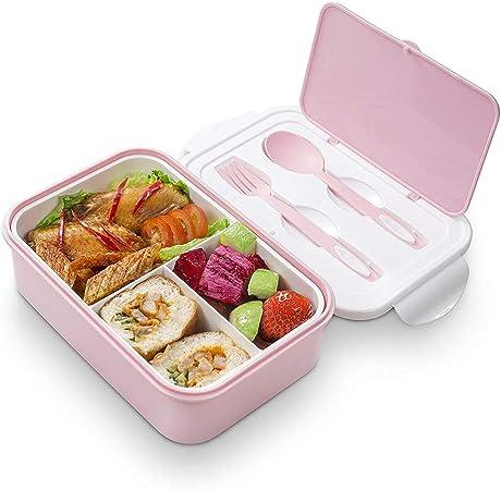 thousanday boite bento dejeuner bento box lunch box 2 couverts solides 1400ml hermetique passe au micro ondes et au lave vaisselle rose
