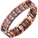 Ebuty Mens Copper Magnetic Bracelet Double Row with Velvet Gift Box and Free Link Removal Tool