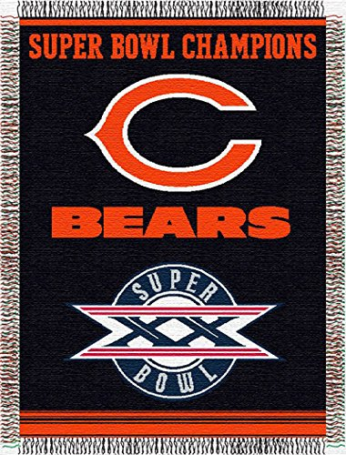 Chicago Bears Super Bowl Commemorative Woven NFL Tapestry Throw by Northwest (Woven Triple Layer Tapestry Throw)