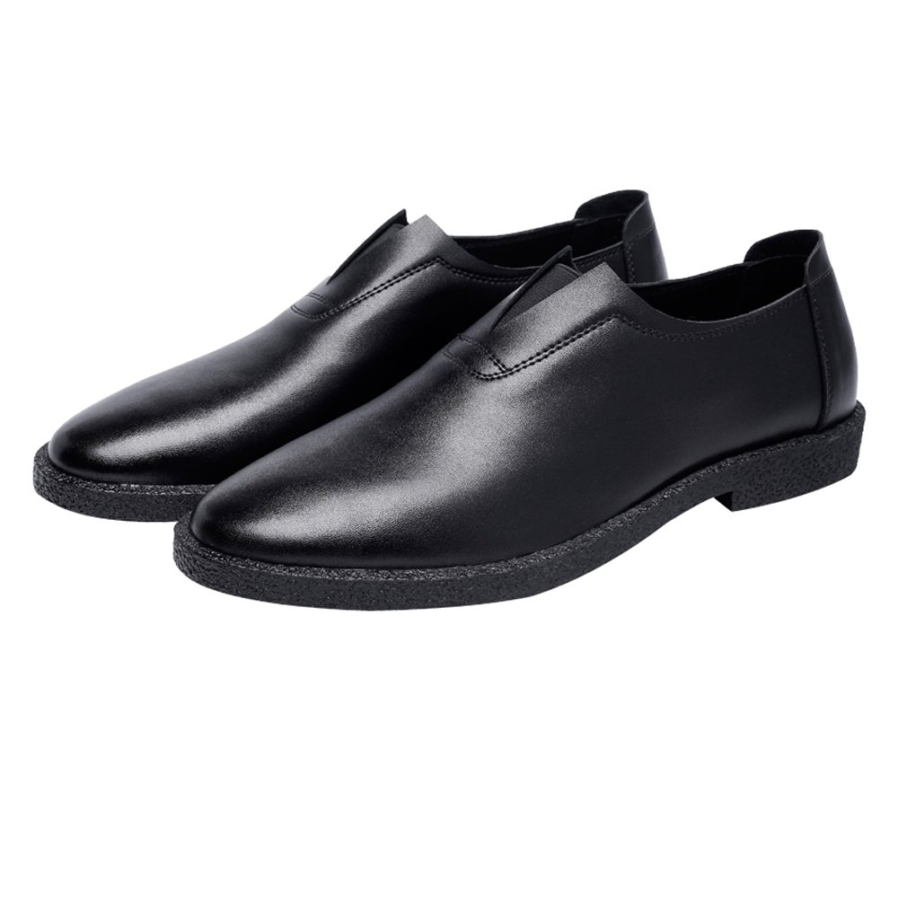 Black JIALUN-shoes Men's Simple Casual shoes Matte Genuine Leather Loafers Slip-on Breathable Pointed Toe Oxfords