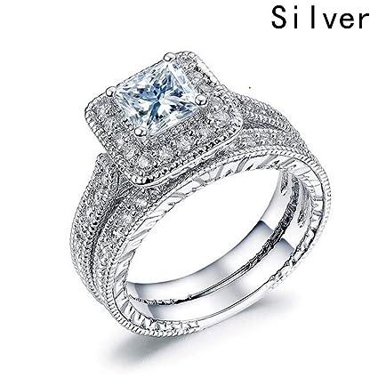Amazon Com Luxury Princes Cut Wedding Rings For Woman Big Square