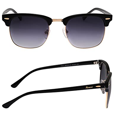 57ce10e68bb Amazon.com  Rivacci VINTAGE Mens   Womens POLARIZED Sunglasses CLUBMASTER -  Best TAC DRIVING GLASSES – RETRO Shades for Men   Women – Gold Black  Lavender ...
