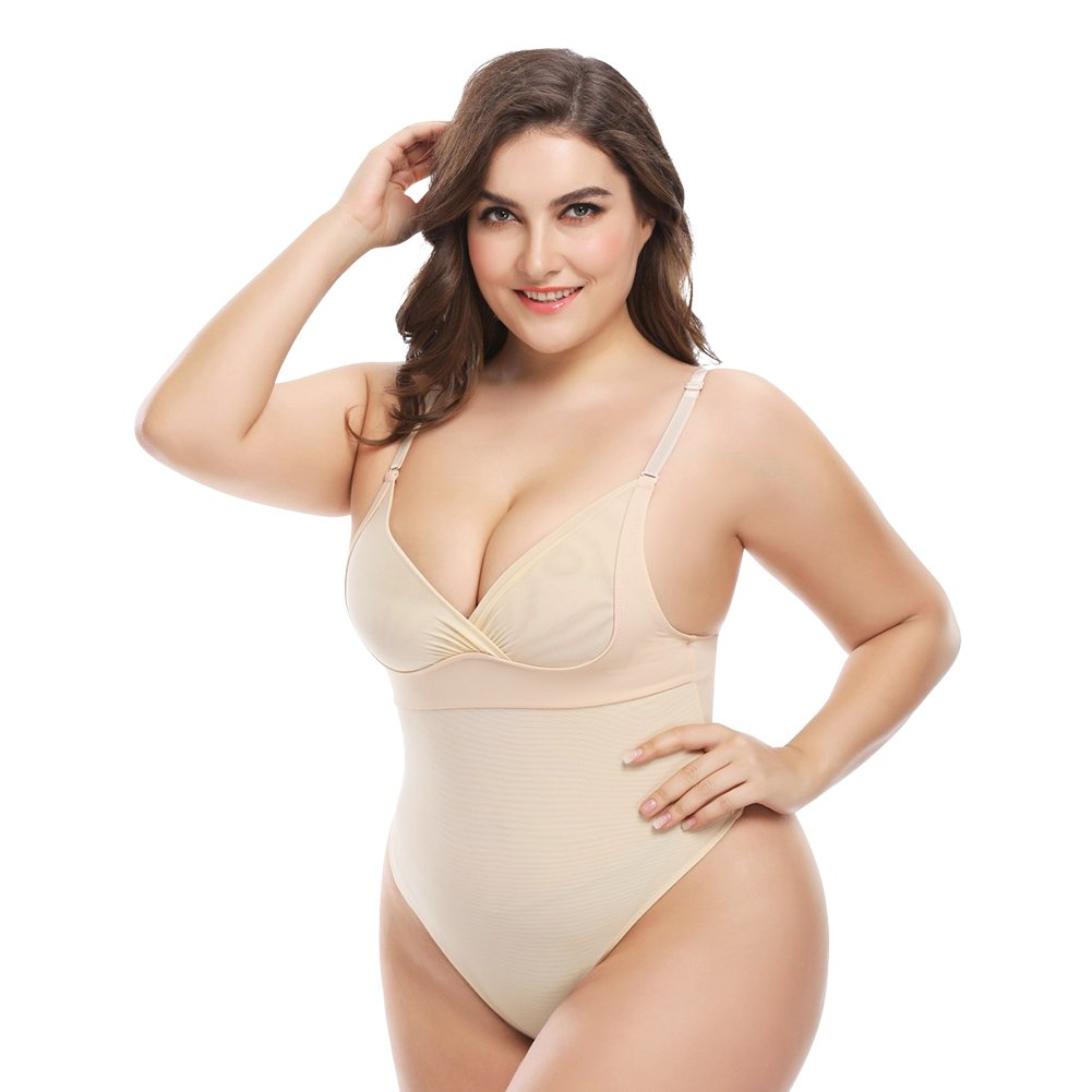 Queenral Full Body Shaper Thong Body Briefer Shapewear for Women 933-45