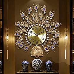 SE7VEN The peacock clock,Wall clocks large decorative European style Living rooms Clocks Household Silent Quartz Large wall clock-B 67x70cm(26x28inch)