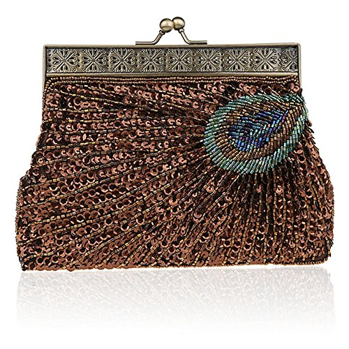Antique Sequin Vintage Evening Clutch Sunburst Unusual Peacock Purple Purse Beaded Handbag Eye Teal Catching Y4YRf