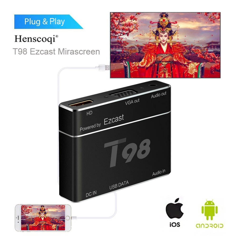 Henscoqi Screen Mirroring,T98 EZcast USB to HD Converter S8 Pro Plug&Play HD/VGA Converter for iPhone/ Android (Black)