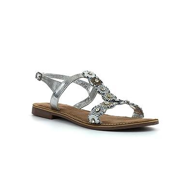 Lilley & Skinner Flaches Sandale im Silbernen Leder für Frauen Größe 38 - Mehrfarbig 8Vc8amNfq