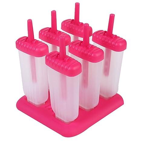 Leisial 2pcs Moldes de Paleta Plástico Caja de Hielo Molde del Helado DIY Palo de Molde