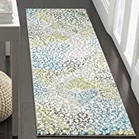 Safavieh Water Color Collection WTC672B Ivory and Peacock Blue Runner, 22 x 8