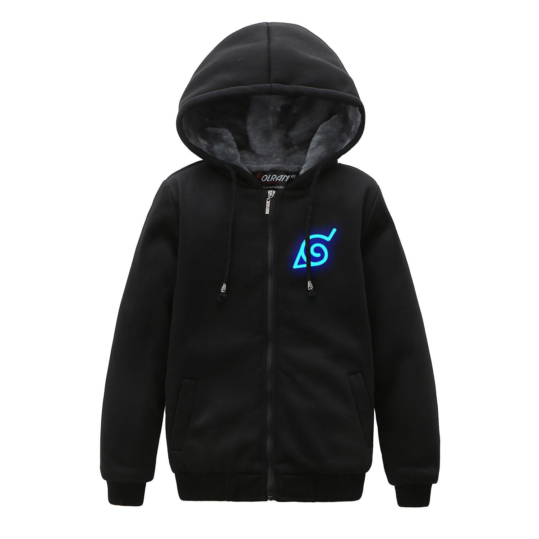 HOLRAN Naruto Noctilucent Akatsuki厚み付けジャケットコスプレセーターfor Kid Kid-M ブラック B07BQ3XX17