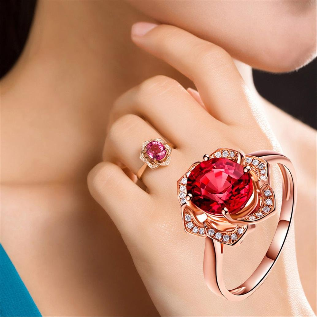 SMALLE◕‿◕ Clearance,Flower Crystal Wedding Ring for Women Jewelry Accessories Rose Gold Gold Engagem by SMALLE◕‿◕ (Image #3)