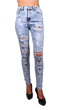 Cello Hidden Jeans Women High Rise Destroyed Skinny Jeans at ...