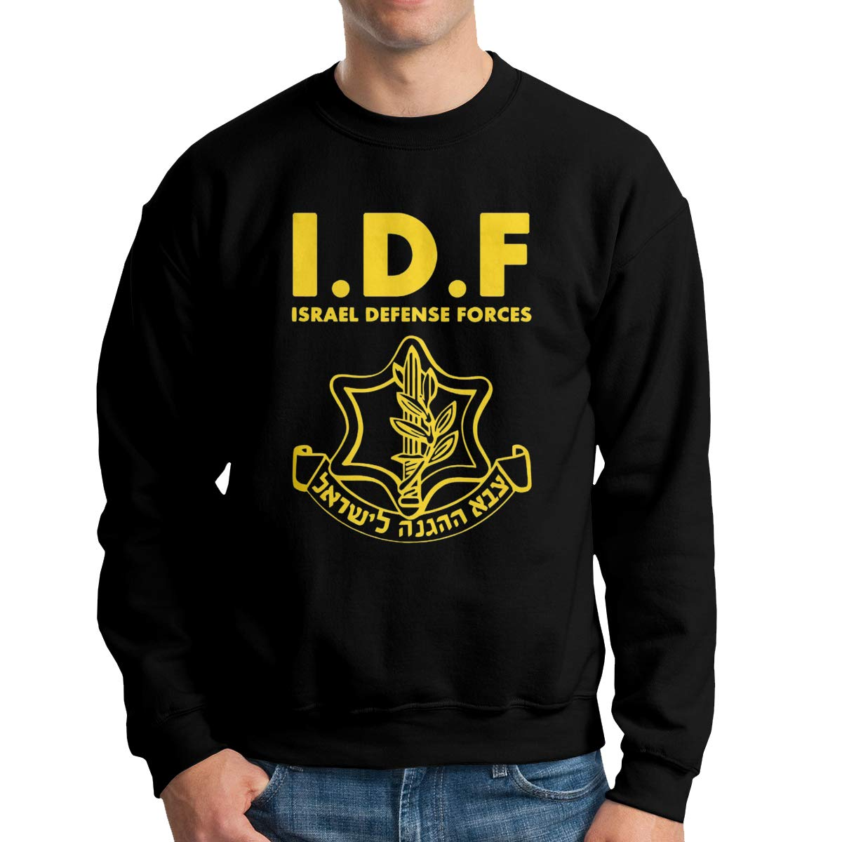 IDF Israel Secret Service Mens Pullover Hoodie Sweatshirt Long Sleeve Sweater Crew Neck Fine Long Sleeve Slim Fit
