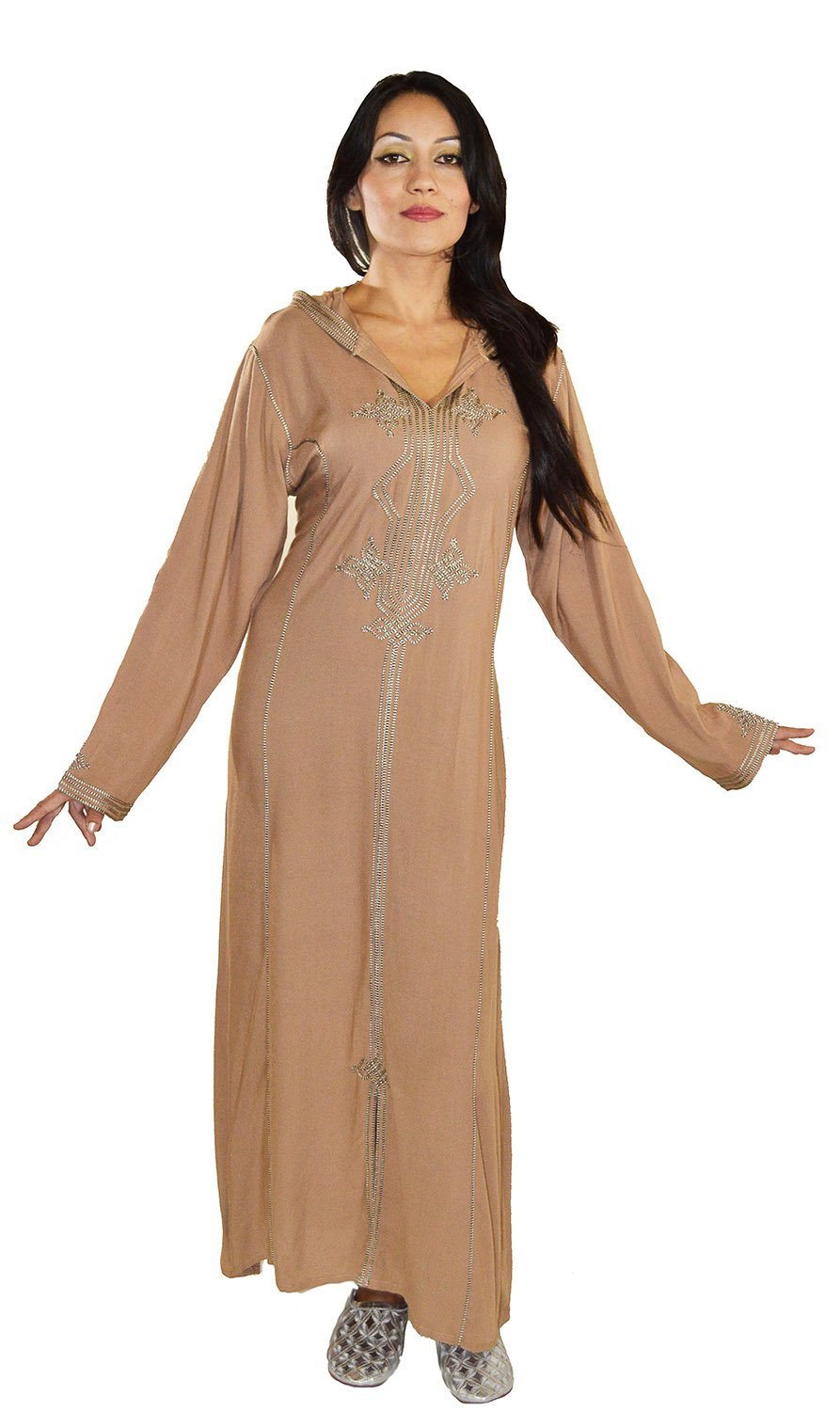 Moroccan Caftans Women Hand Made Djellaba Embroidered Size X-Large Brown