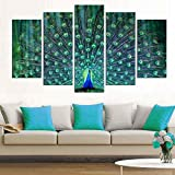 Wall Art Living Room-5 Pieces Large Green Framed Canvas Painting Print Picture 'Peacock Spread Its Wings' Artwork Ready to Hang