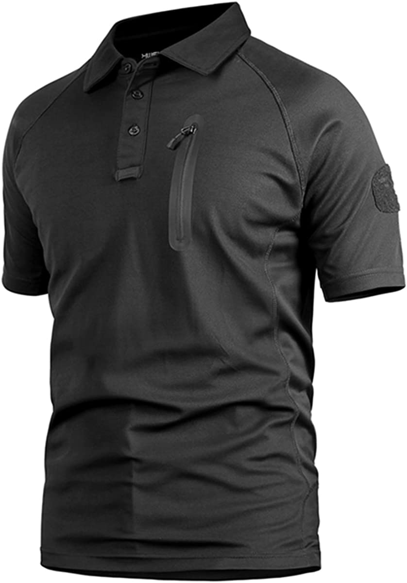 Polo Camuflaje Militar Uniforme táctico de Secado rápido Manga Corta Camiseta de los Hombres Airsoft Combat Caza de la Cremallera Camiseta Negro x-Large: Amazon.es: Ropa y accesorios