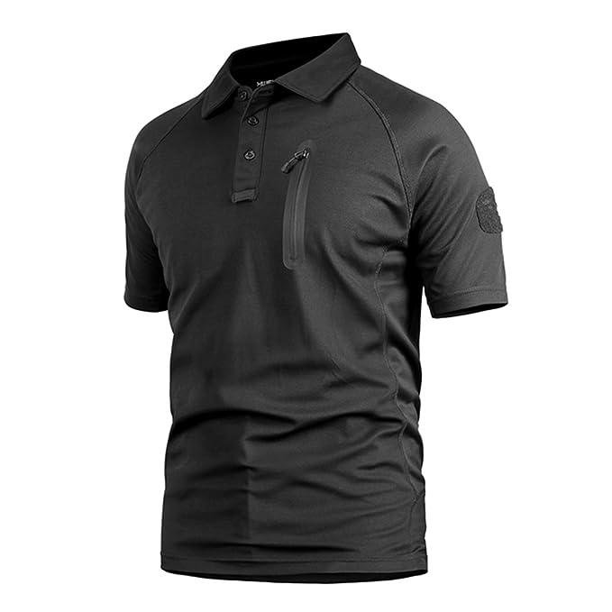 QCHENG Polo Camuflaje Militar Uniforme Táctico de Secado Rápido Manga Corta Camiseta de los Hombres Airsoft Combat Caza de la Cremallera Camiseta Negro ...
