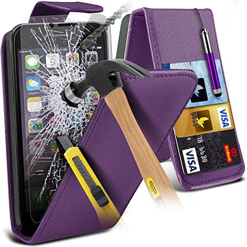 Spyrox ( Purple ) Apple iPhone 6S Case Stylish Fitted PU-Leder-Schlag mit Kredit- / Bankkarte Slot Hülle Tasche mit gehärtetem Glas Crystal Clear LCD Display-Schutzfolien, Reinigungstuch und Mini-vers