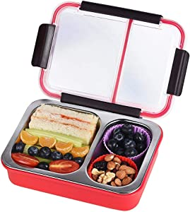 Bento Box 2 Compartments Stainless Steel Lunch Box for Adults and Kids, Portion Control Lunch Containers Leakproof BPA Free - Watermelon Red