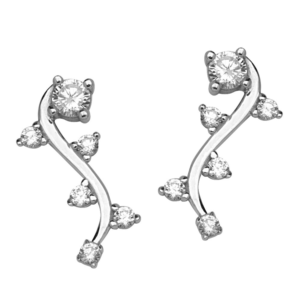 Fancy Cz Climber Earrings Silver Earrings