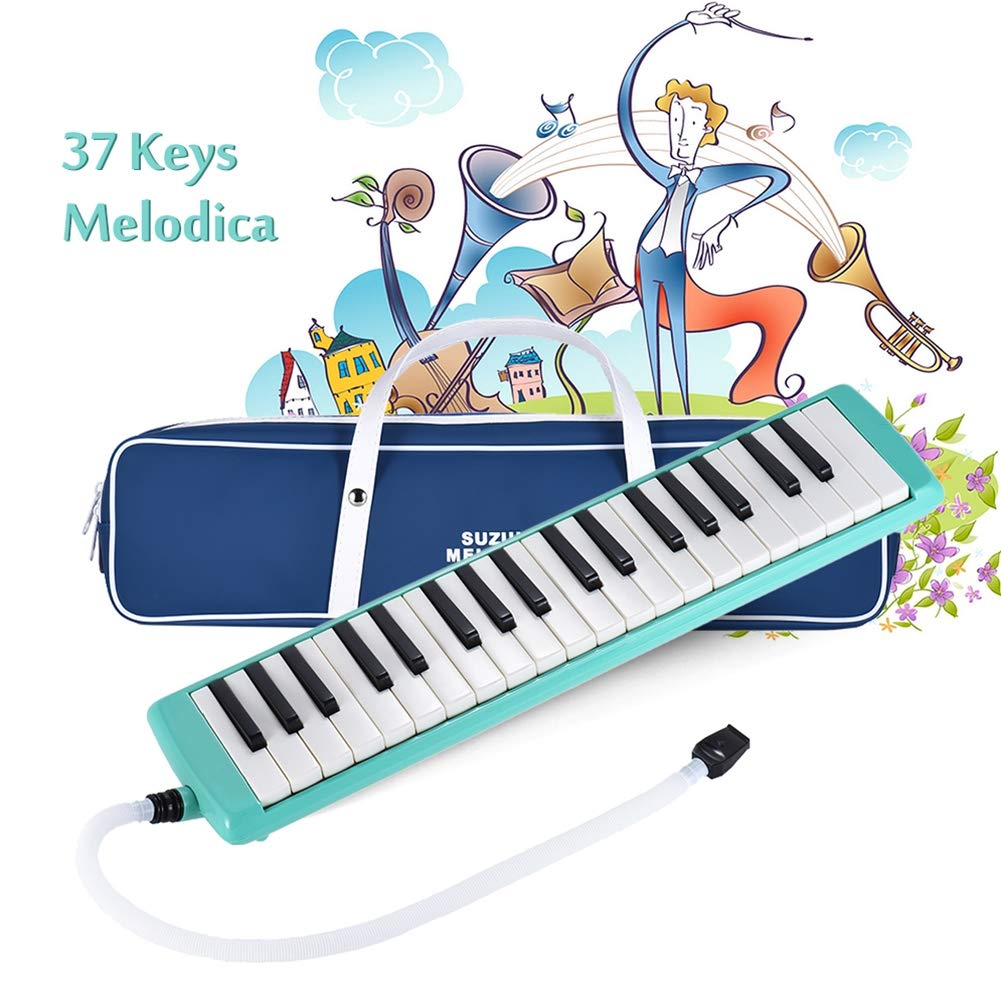 HBIAO 37-Key Melodica, Melodica Pianica Instrument with Long and Short Mask Carrying Bag for Children's Cleaning Cloth