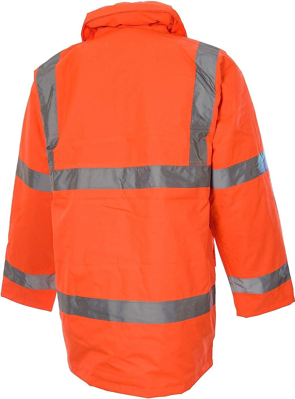 WORKWEAR GUARD ORANGE REFLECTIVE SECURITY ORANGE HI VIS PARKA JACKET HI VIZ