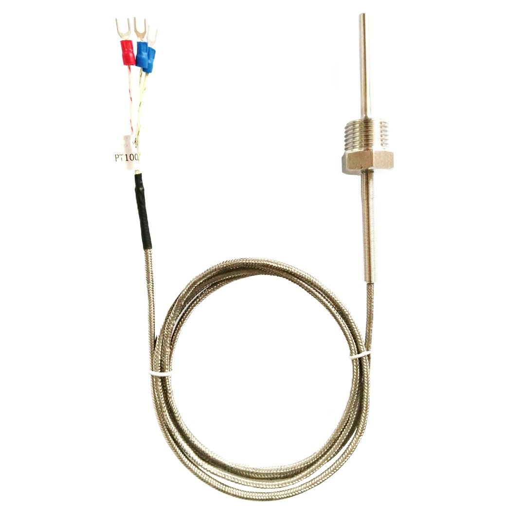Waterproof RTD PT100 Temperature Sensor - Jaybva Thermistor Probe for PID Temperature Controller 3 Wire Stainless Steel NPT 1/2'' Inch Pipe Thread with Insulation Lead Shield Wire -50~500℃ with 2m Wire