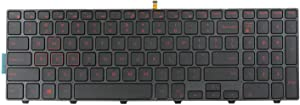 (Red Characters Printed) Replacement Keyboard Non-Backlit for Dell Inspiron 15 3542 3543 3551 3552 5542 5545 5547 5755 5551 5558 5552 5758 5759 7557 7559 5559| 17 5000 5748 5749 5755 5758 5759 Series