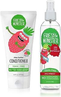 product image for Fresh Monster Kids Hair Detangling Bundle, 8 oz Detangler & 6 oz Conditioner, Strawberry, 1 Count, 6oz. with 8oz Detangler