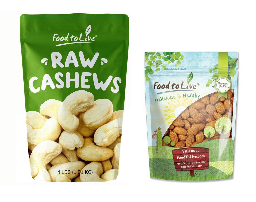 Nuts Bundle: Cashews, 4 Pounds + Almonds, 2 Pounds — Whole, Raw, No Shell, Unsalted