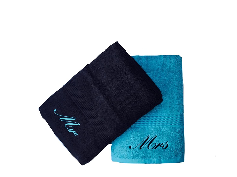 ricamato Mr & Mrs azzurro e nero asciugamani paio Niche Embroidery