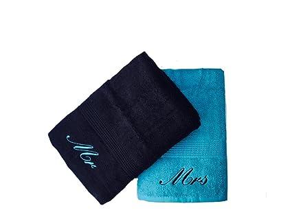 Bordado Mr & Mrs color azul y negro toallas de mano de par