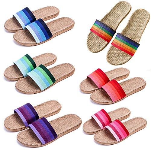 Home Slippers Women Men's Slipper Flat Slides Sandals HRFEER Indoor Shoes Breathable Linen Casual Unisex wxpqd7I