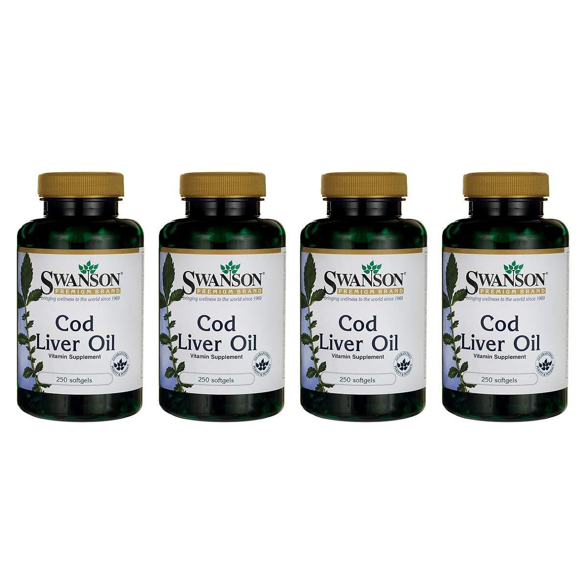 Swanson Cod Liver Oil 1250 Iu A/135 Iu D 500 Sgels 2 Bottles (4 Pack)