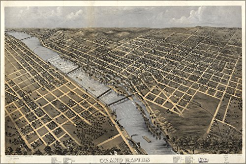 Poster A Perspective Map Of Grand Rapids, Michigan Made In 1868