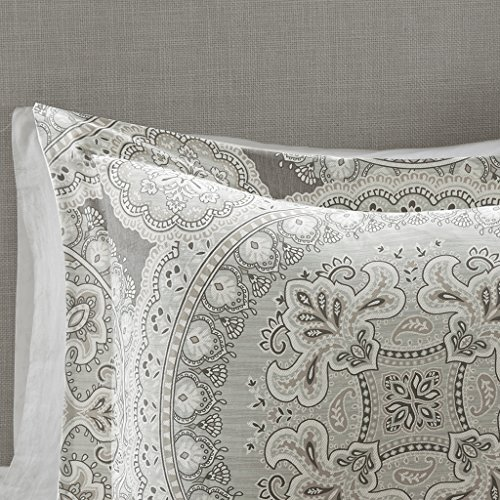 Harbor House Freida Duvet Cover Full/Queen Size - Grey, Taupe , Bohemian Medallion Duvet Cover Set - 6 Piece - 100% Cotton Sateen Light Weight Bed Comforter Covers