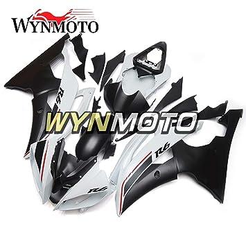 wynmoto ABS Inyección completa motocicleta embellecedores para Yamaha YZF R6 08 - 16 Mate blanco negro casco: Amazon.es: Coche y moto