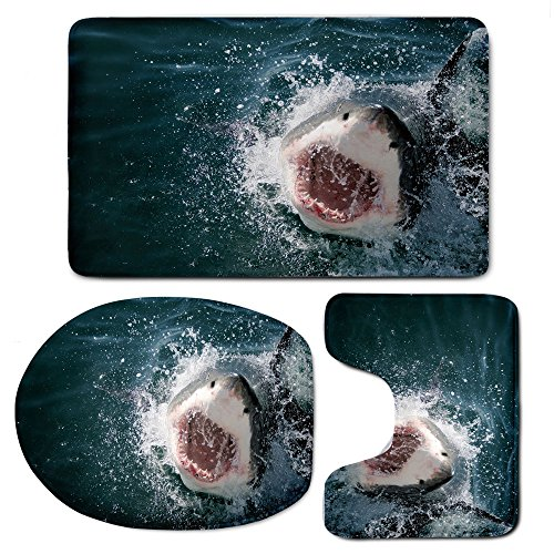 Attacking Set (3 Piece Bath Mat Rug Set,Shark,Bathroom Non-Slip Floor Mat,Wild Animal in The Sea Attacking Showing The Mouth and Teeth Scary Print Decorative)