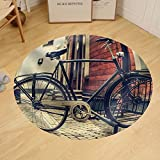 Gzhihine Custom round floor mat a Vintage Photo of Bicycle Parked near a House