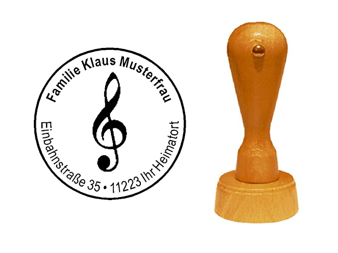 /Ø 40 mm Musik Musiker Komponist mit pers/önlicher Adresse und Motiv Stempel Holzstempel Adressstempel /« NOTENSCHL/ÜSSEL VIOLINSCHL/ÜSSEL /» Durchmesser ca