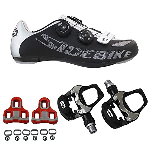 SIDEBIKE Zapatillas de Ciclismo para Adultos con Pedales y Calas, Zapatos de Bicicleta de Carretera