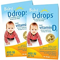(跨境自营)(包税) 美版 Ddrops 加拿大婴儿维生素D3滴剂2.5ml 400IU 90滴*2瓶 助钙吸收