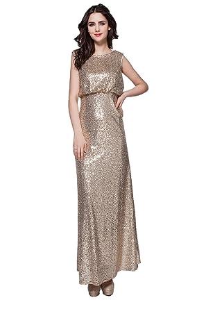 Beauty-Emily Pailletten O-Ansatz Ohne Arm Offene Seiten Zurück  Abendkleider  Amazon.de  Bekleidung d7ef6c29d1