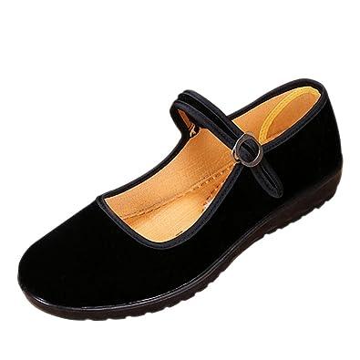 bd9c8643e73 XFentech Womens Ladies Mary Jane Flat Wedge Shoes Velvet Work Walk Comfort  Hook   Loop Sandals Strap Shoes  Amazon.co.uk  Shoes   Bags