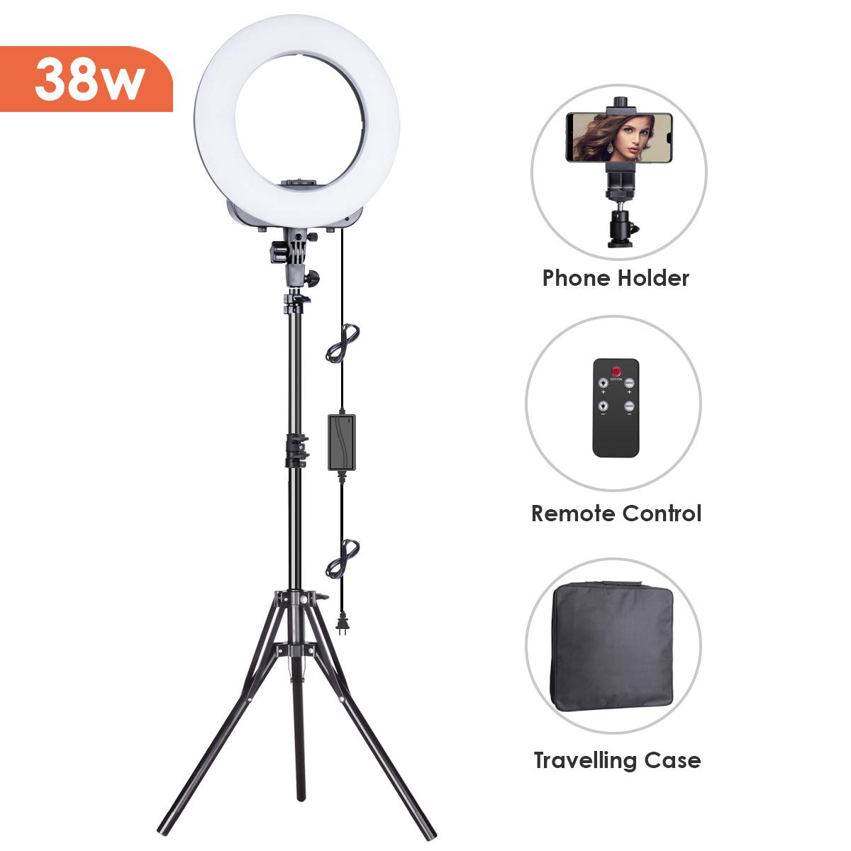 Geekoto Ring Light Led With Camera Flash Circuit Further Disposable Stand And Phone Holder 14 Inches Outer Lighting Kit 38w 3200k 5500k Remote Control For Youtube Video Shooting Makeup Photography Photo