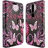 ZTE Axon Pro Wallet Case, CoverON® [CarryAll Series] Flip Folio Card Slot Pouch Cover Screen Protector + Strap Case For ZTE Axon Pro - Pink Butterfly Design