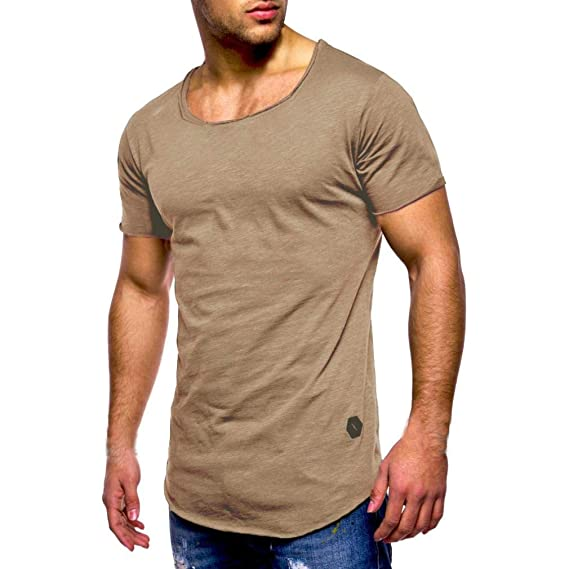 ♚Camisas Hombre Algodón Musculoso,Camiseta sin Mangas con Cuello en Pico de Manga Larga. Pasa ...