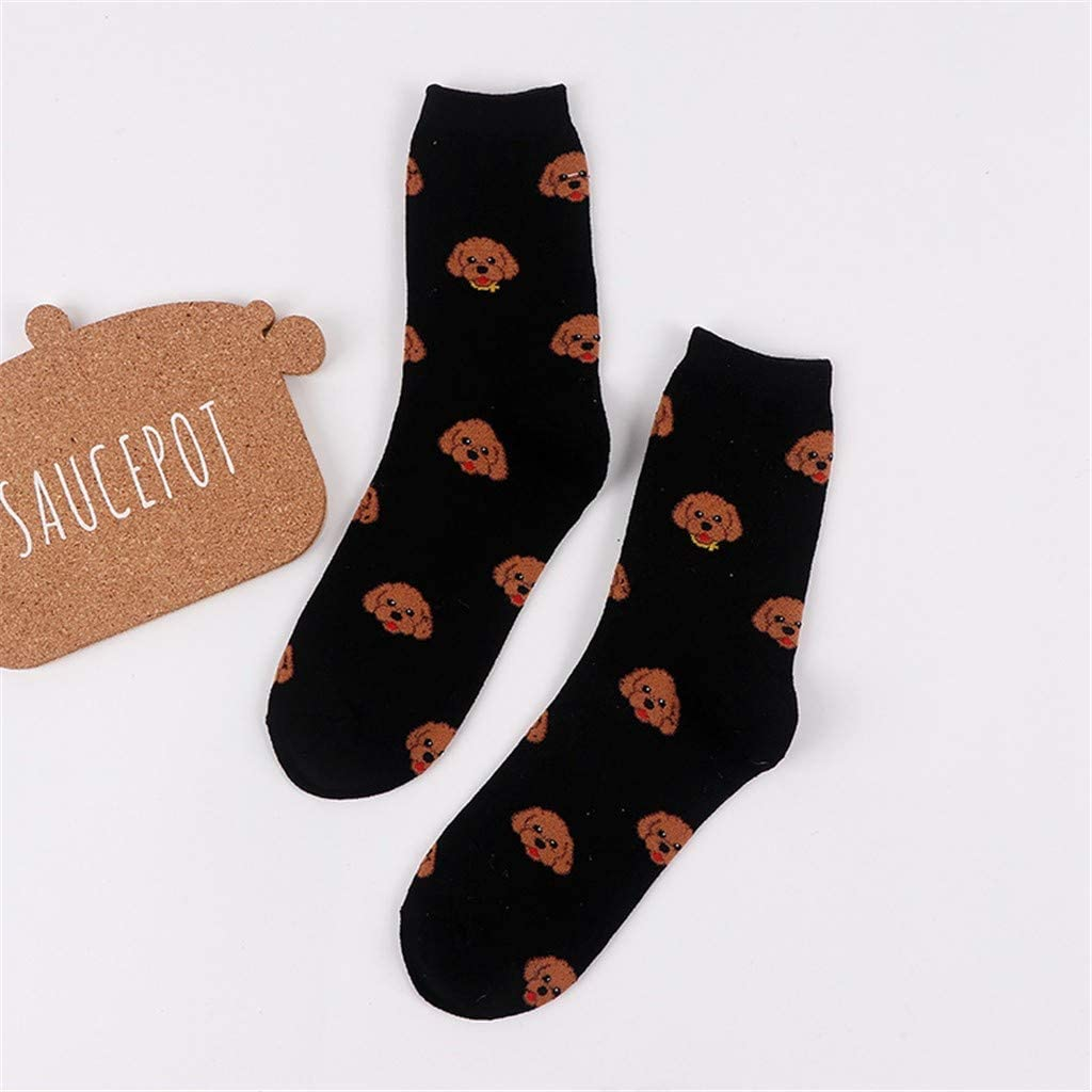 KaloryWee Socks Women Novelty Funny Cat Design Crew Socks for Dress or Casual Crazy Print Socks